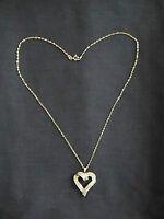 Stunning Double Row Diamond Heart Pendant Necklace