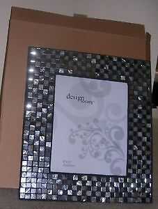 new in box 8x10 photo frame surrounded by mosaic mirror & shell
