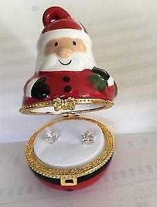 CZ Stud Earrings in Collectible Keepsake Box Santa & Red Slipper