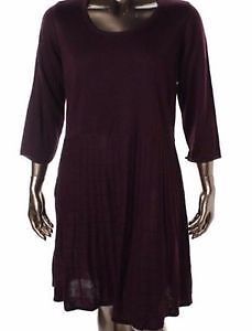 PURPLE- CALVIN KLEIN Scoop Neck Sweaterdress Plus 2X