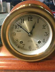 "Mint Chelsea Ship's Bell 4.5"" Clock,Key Wound,Brass,w Stand/Key"