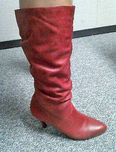 RED LEATHER boots, made in Brazil - size 8.5