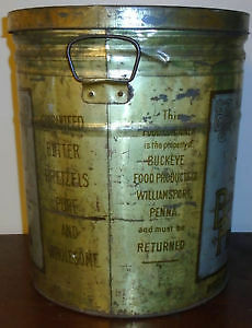 Vintage Advertising Tin With Handles Buckeye Butter Pretzels. Peterborough Peterborough Area image 2