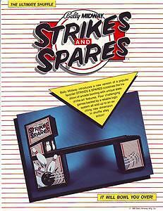 1985 BALLY STRIKES AND SPARES SHUFFLE ALLEY FLYER MINT