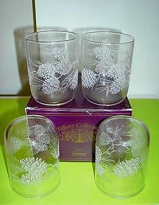 4 pinecone etched Glasses. NEW . boxed . Pinecones & Snow