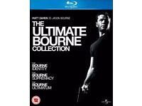First three Jason Bourne films starring Matt Damon on Blu Ray