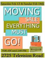MOVING SALE Saturday Feb 13 and Sunday Feb 14 9am-2pm