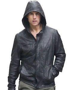 Mens Hooded Leather Jacket | eBay
