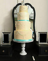 Vintage shabby chic antique rustic tall pedestal cake stand