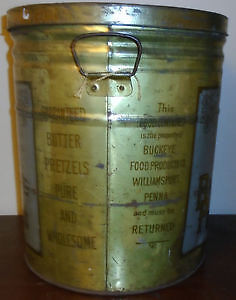 Vintage Advertising Tin With Handles Buckeye Butter Pretzels. Peterborough Peterborough Area image 4