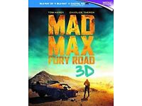 3 x Blu Ray Films: Mad Max Fury Road 3D, Ride Along and Ride Along 2