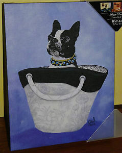 Boston Terrier framed picture painting