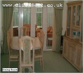 Quality Dining Furniture Set - Display cabinet, table and 6 high back chairs