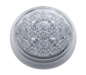 2-Amber-3-Round-15-LED-Surface-Mount-Park-Turn-Signal-Lights-Clear-Lens