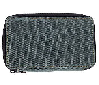 Global : Canvas Style Steel Blue Folding Colour Pencil Case Holds 24