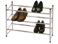 Silver 3 tier shoe rack
