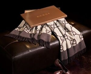 NEW-AUTHENTIC-LUXURY-GUCCI-ITALY-SIGNATURE-CASHMERE-WOOL-THROW-BLANKET-NIB
