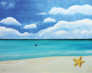 Dolphins and Star Fish - 24 x 18 x 1.50 stretched canvas print