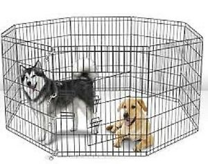 8-Panel Folding Wire Exercise Pen Fence Gate Playpen