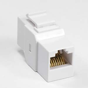 Mountable KEYSTONE COUPLER/Joiner Female~F RJ45 8c Cat5e Ethernet Network{WHITE