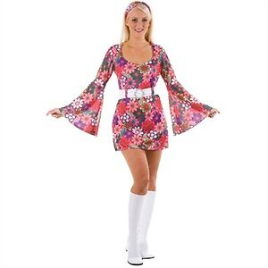 RETRO 60S 70S HIPPY HIPPIE FANCY DRESS COSTUME 1960S 1970S LADIES WOMENS MINI