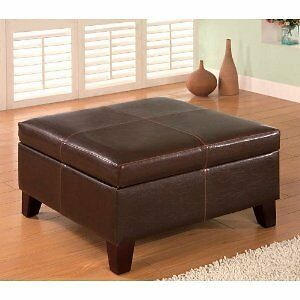 New Brown Large Coffee Table Ottoman Footstool With Storage Faux Leather Square Ebay