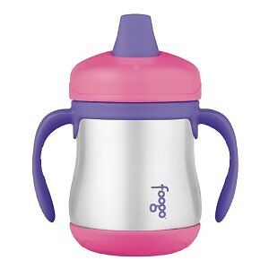Thermos Foogo Stainless Steel Sippy Cup with Handle, 200ml, Pink