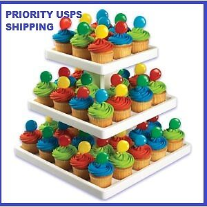 3-TIER-SQUARE-CUPCAKE-CAKE-STAND-4-WEDDING-DESSERTS-PRIORITY-SHIPPING