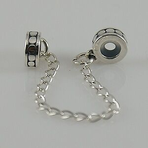 Solid 925 sterling silver European bead charms - Safety chain for 3mm bracelet