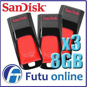 3x Sandisk Cruzer Edge 8GB USB 2.0 Flash Drive Capless Slide backup file Storage