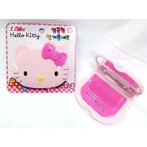 Sanrio Hello Kitty Face Compact Hair Comb & Mirror - Pink