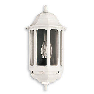 White Half Lantern - Outside Wall Light - 60W GLS BC or 9W CFL BC Lamp - ASD