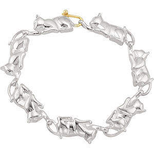 NEW-Sterling-Silver-14k-Gold-CAT-Bracelet-18-grams-FREE-Shipping-7-25-inch