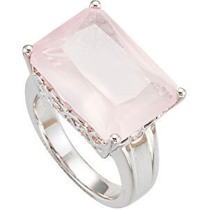 PINK-14-2-ct-Genuine-ROSE-QUARTZ-Ring-set-in-Sterling-Silver-Sz-7-FREE-Shipping