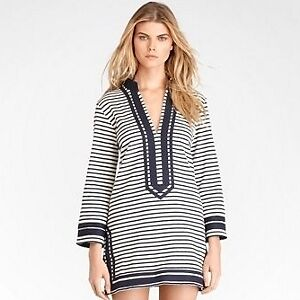 *TORY BURCH*NWT-SZ. M-IVORY/NAVY FEUILLES STRIPE PRINT TERRY LONG SLV TUNIC-$295