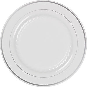 MASTERPIECE-PLASTIC-PLATES-50-PREMIUM-HEAVYWEIGHT-PLASTIC-Wedding-Like-China