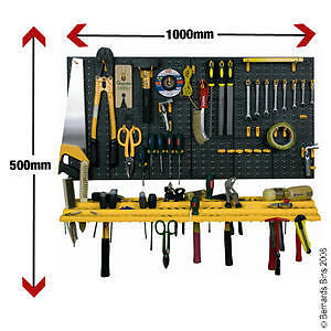 Garage-wall-TOOL-RACK-storage-KIT-Inc-50-HOOKS