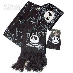 Disney Nightmare Before Christmas JACK & Bats 3 pc Scarf, Beanie, Glove Set NEW!