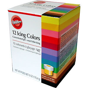 WILTON 12 SET ICING DECORATING PARTY COLOURS COLOUR KIT FOR CAKE PAN TIN
