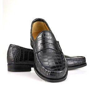 Premium-CUSTOM-CROCODILE-BELLY-SKIN-LEATHER-LOAFER-DRESS-MENS-SHOES-BLACK
