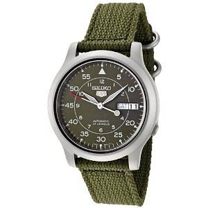 MENS SEIKO 5 Military Army Automatic Winder Analogue Nylon Strap Sport Watch UK