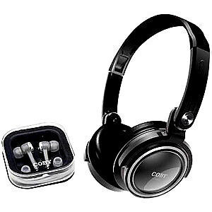 Coby-CV215-Bass-Stereo-Headphones-and-Bonus-Earphones-Black-for-MP3-Players