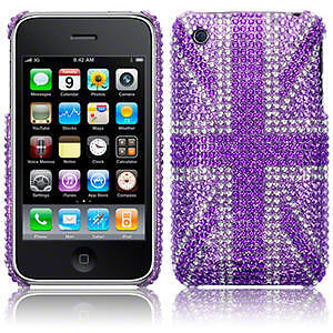Purple Diamante Bling Hard Back Case Cover For Apple iPhone 3GS Union Jack Flag