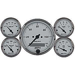 AUTOMETER AMERICAN PLATINUM GAUGE SET ELEC SPEEDO FUEL,WATER,OIL,VOLTS AU1902