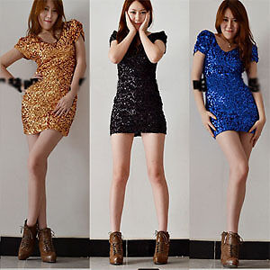 Womens-Sexy-Sequins-Double-V-Cocktail-Clubwear-Party-Stretch-Mini-Show-Dress-Iac