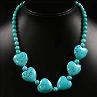 "Beautiful Turquoise Gem Heart Pendant Beads Necklace 18"""