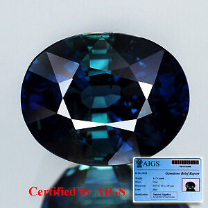AIGS CERTIFIED UNHEATED UNTREATED Natural Gem 4.17ct Oval Blue SAPPHIRE, AFRICA