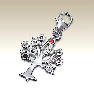 925 Sterling Silver  -  'CZ  Tree Of Life'  - Clip On Charm fits link bracelet