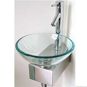 Modern wall mounted glass sink corner wash basin design | eBay