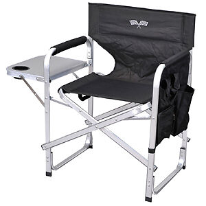 Folding Directors Chair Camping Heavy Duty Aluminum Checkered Flag Chair
